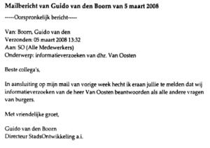 Mailbericht Guido van den Boorn 5 maart 2008