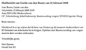 productie 29 Mailbericht interim-directeur Guido van den Boorn, 25 februari 2008